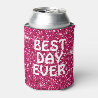 BEST DAY EVER | glitter fuchsia Can Cooler