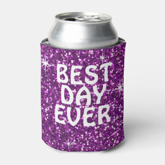 BEST DAY EVER | glitter purple Can Cooler