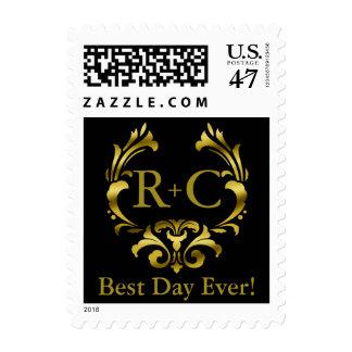 Best Day Ever Gold Foil Monogram | black Postage
