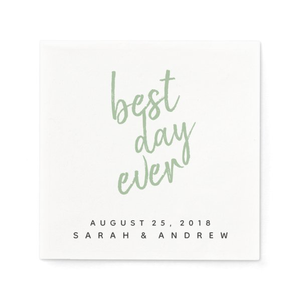 Best Day Ever Green Wedding Cocktail Napkin