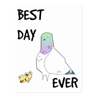 Best Day Ever Lucky Pigeon Postcard