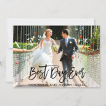 Best Day Ever Modern Brush Script Wedding Photo Thank You Card