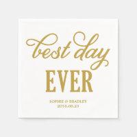 Best Day Ever | Modern Calligraphy Wedding Napkin
