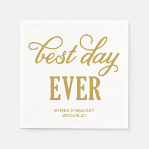 Best Day Ever | Modern Calligraphy Wedding Napkin
