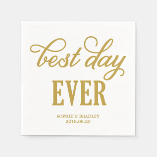 Best Day Ever | Modern Calligraphy Wedding Napkin at Zazzle