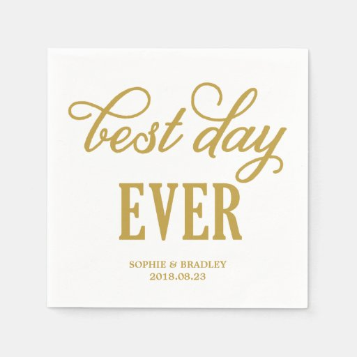 Best day ever modern calligraphy wedding napkin zazzle