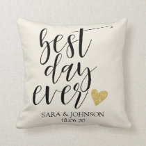 best day ever personlized wedding gift for couple throw pillow