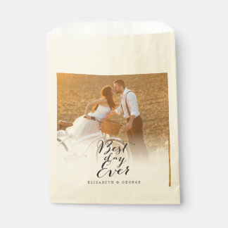 Best Day Ever Script Calligraphy Photo Wedding Favor Bag