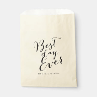 Best Day Ever Script Chic Calligraphy Name Wedding Favor Bag