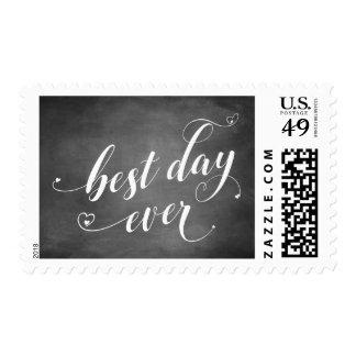 Best Day Ever Script w/ Hearts & Chalkboard Postage