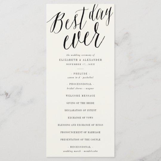 Best Day Ever Simple Script Wedding Program Card