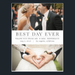 """Best Day Ever Thank You Postcard<br><div class=""""desc"""">Share your gratitude with your guests with this easy to personalize photo thank you postcard. Personalize your return address and message for easy delivery.</div>"""