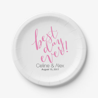 BEST DAY EVER Wedding Day | pink Paper Plate