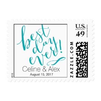 BEST DAY EVER Wedding Day | teal Postage Stamps