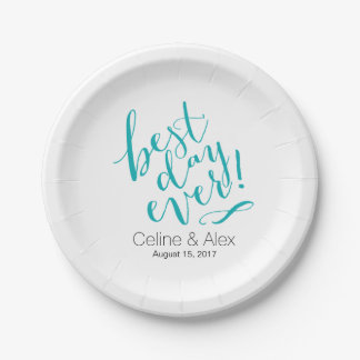 BEST DAY EVER Wedding Day   teal 7 Inch Paper Plate