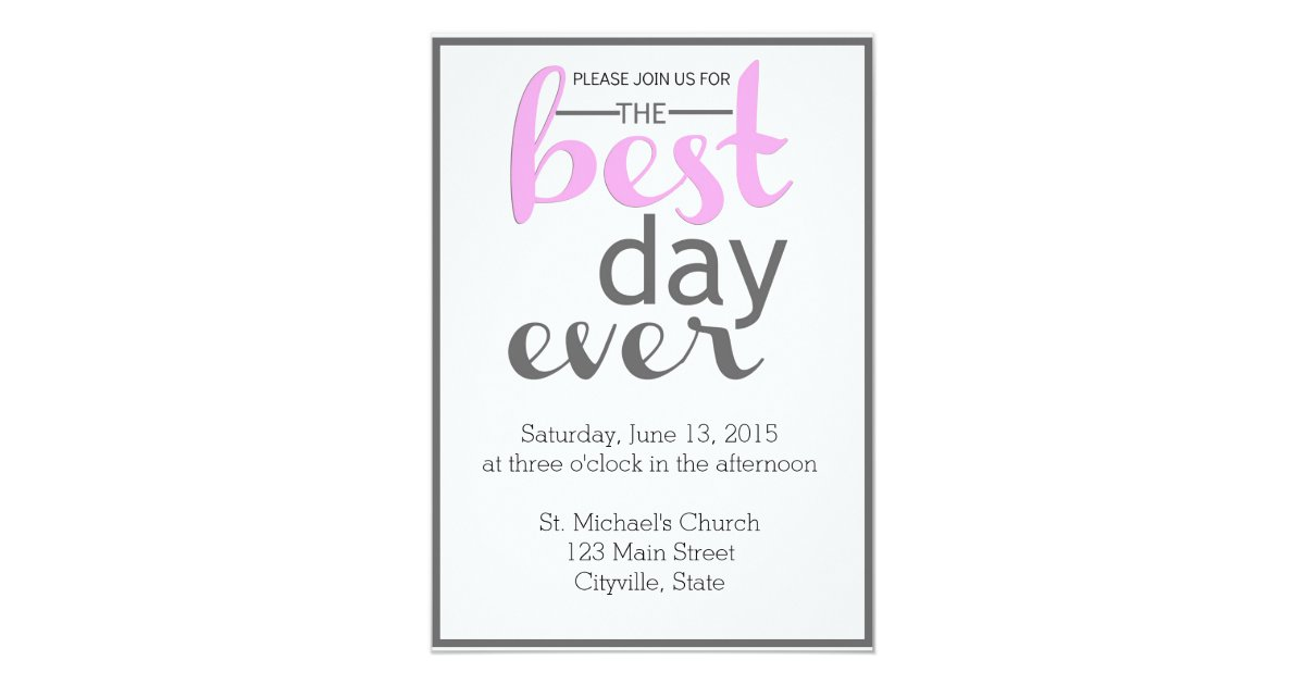 Best Day Ever Wedding Invitation