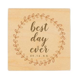 Best Day Ever Wedding Keepsake Wood Coaster