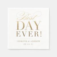 Best Day Ever Wedding Napkin Gold