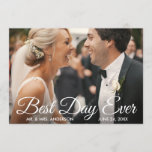Best Day Ever Wedding Photo Bride and Groom Card
