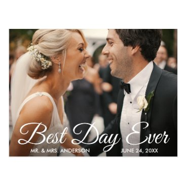 Bride Themed Best Day Ever Wedding Photo Bride and Groom Postcard