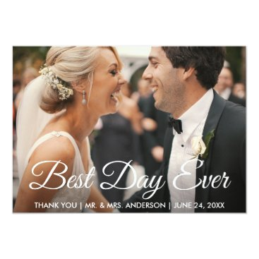 Bride Themed Best Day Ever Wedding Photo Thank You Card