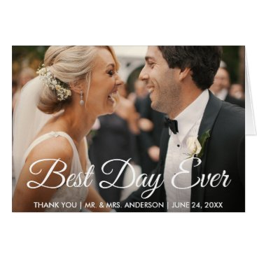 Bride Themed Best Day Ever Wedding Photo Thank You Fold Card