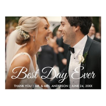 Bride Themed Best Day Ever Wedding Photo Thank You Postcard