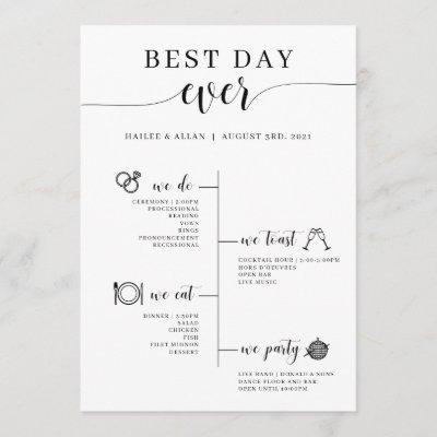 Best Day Ever Wedding Timeline Program