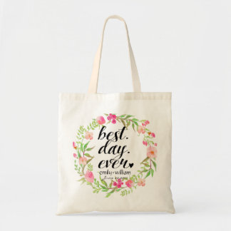 """Best Day Ever"" Wedding Welcome Gift Tote Bag"
