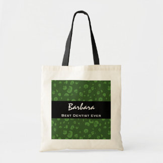 Best Dentist Ever Custom Name Green Leopard Tote Bag