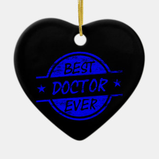Best Doctor Ever Blue Double-Sided Heart Ceramic Christmas Ornament