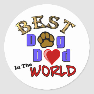 Best Dog Dad in the World Gifts - Father's Day Classic Round Sticker