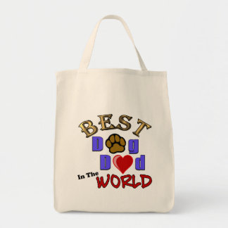 Best Dog Dad in the World Tote Bag Grocery Tote Bag