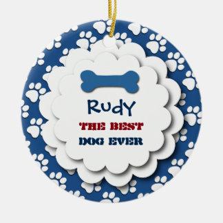 Best Dog Ever Dog Paw Prints Custom Photo C3 BLUE Double-Sided Ceramic Round Christmas Ornament