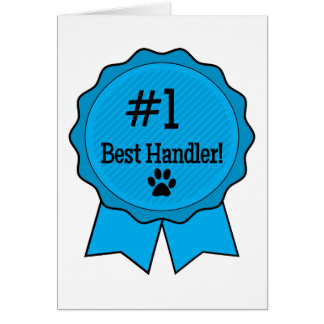 Best Dog Handler Blue Ribbon with Paw Card