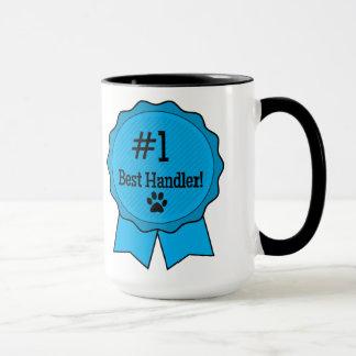 Best Dog Handler Blue Ribbon with Paw Mug