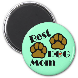 Best Dog Mom Magnet with Dog Paws Merchandise 2 Inch Round Magnet