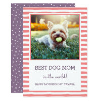 Best Dog Mom Striped | Coral | Photo Mother's Day Card