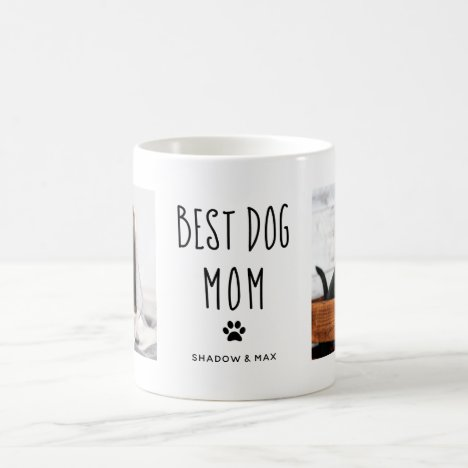 Best Dog Mom | Two Photo Handwritten Text Coffee Mug