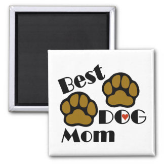 Best Dog Mom with Dog Paws Merchandise Magnet