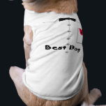 """Best Dog T-shirt<br><div class=""""desc"""">Graphics of a tuxedo shirt with a rose in the pocket and a black bow tie,  text below reads Best Dog.  Perfect for the dog in a wedding.</div>"""