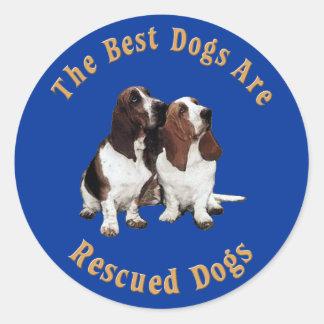 Best Dogs Are Rescued Basset Hound) Classic Round Sticker