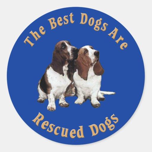 Best Dogs Are Rescued Basset Hound) Round Sticker