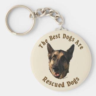 Best Dogs Are Rescued - German Shepherd Dog Basic Round Button Keychain