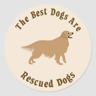 Best Dogs Are Rescued - Golden Retriever Classic Round Sticker