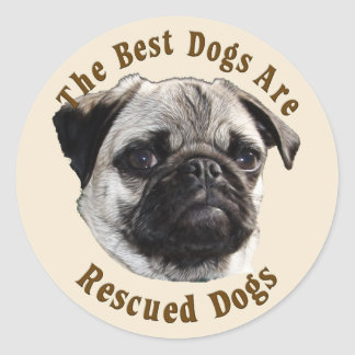 Best Dogs Are Rescued (Pug) Classic Round Sticker