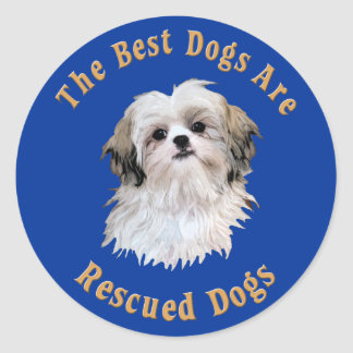Best Dogs Are Rescued Shih Tzu) Classic Round Sticker
