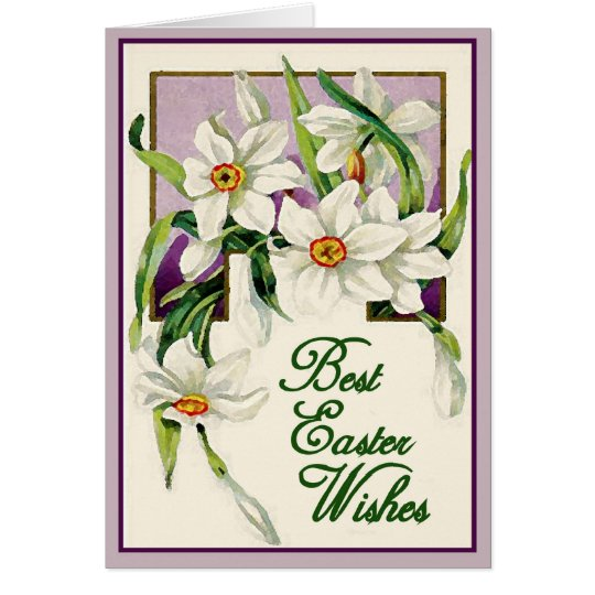 Best Easter Wishes, Lavender & White Personalized Card
