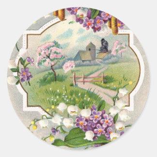Best Easter Wishes Vintage Classic Round Sticker