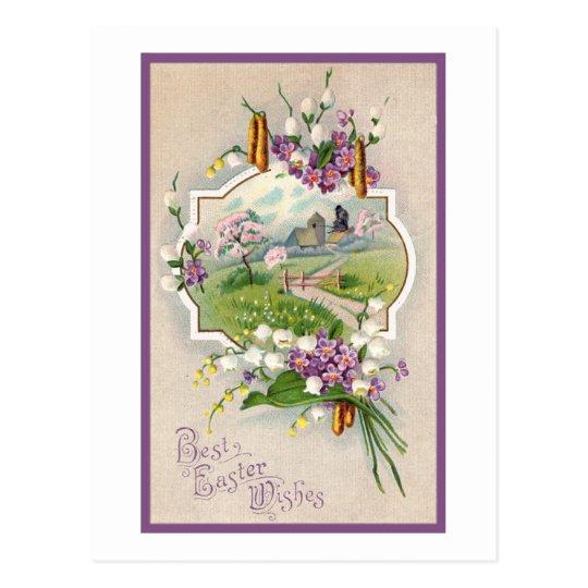 Best Easter Wishes Vintage Postcard